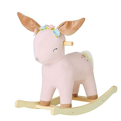 labebe Child Rocking Horse Toy, Stuffed Animal Rocker Toy, 2 in 1 Rocker for Kid 6-36 Months, Child Rocking Toy/Wooden Rocking Horse/Rocker/Animal Ride on/Reindeer Rocker (Girl)