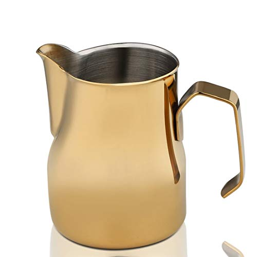 Ouzhoub Kaffeekessel mit schmalem Auslauf 750ml Edelstahl Aufschäumen von Milch Pitcher über Kaffeetasse Dämpfende Pitcher Küche Latte Coffee Art Messbecher Gießen (Color : Rich Gold)