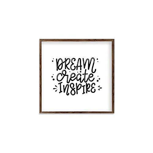 by Unbranded Señal de madera enmarcada Dream Create Inspire, impresiones de decoración de pared para el hogar, pantry Sign madera Wall Sign,New Home Gift Ideas de decoración de dormitorio