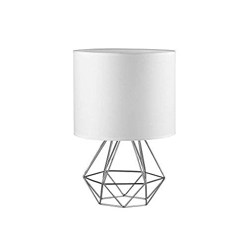 FRIDEKO HOME Vintage Mini Tischlampe - 18cm DIY Tischleuchte Modern Körbchenstil Stil Kreativer für Schlafzimmer Nachttischlampe Arbeitszimmer Office Weiß und Silber