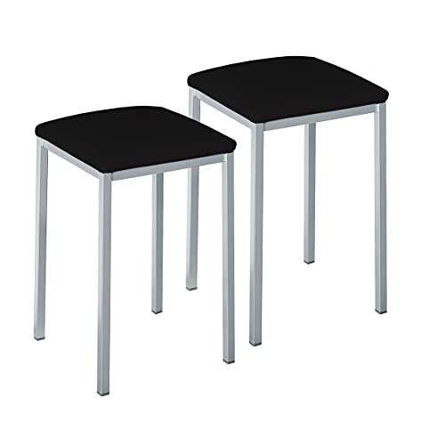 ASTIMESA Dos Taburetes de Cocina Cuadrado Polipiel Negro, Altura de Asiento 45 cms (TABCUANE)
