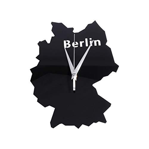 BESPORTBLE Relógio de parede acrílico exclusivo com mapa da cidade criativa Relógio pendurado parede Decoração para hotel de escritório bateria- Berlim Casa