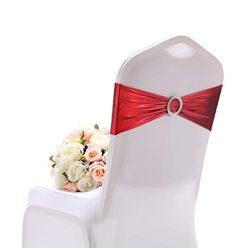 Namvo 10 lazos elásticos para sillas grandes ocasiones elásticas con hebilla, bandas elásticas de licra para sillas para bodas, fiestas, hoteles, eventos (rojo)