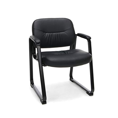 OFM ESS-9015 Bonded Leather Executive Side Chair with Sled Base, Black, Black