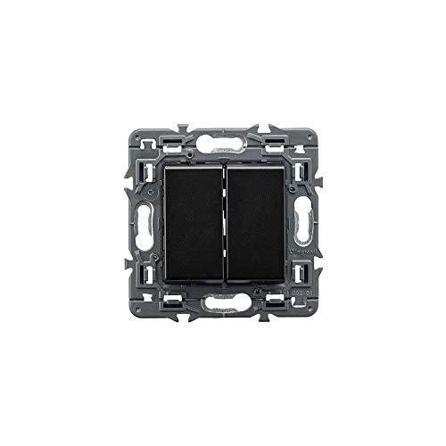 Conmutador doble unipolar 10 AX, 230V, con bornes automáticos, en negro (Legrand 741445)