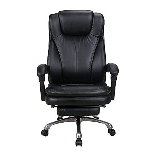 Boss bureaustoel,Grote en Hoge gebonden lederen bureaustoel - Hogerugleuningmetalen onderstel Executive Computer bureaustoel,Verstelbare ingebouwde lendensteun Met voetsteun - zwart,Bruine stoe