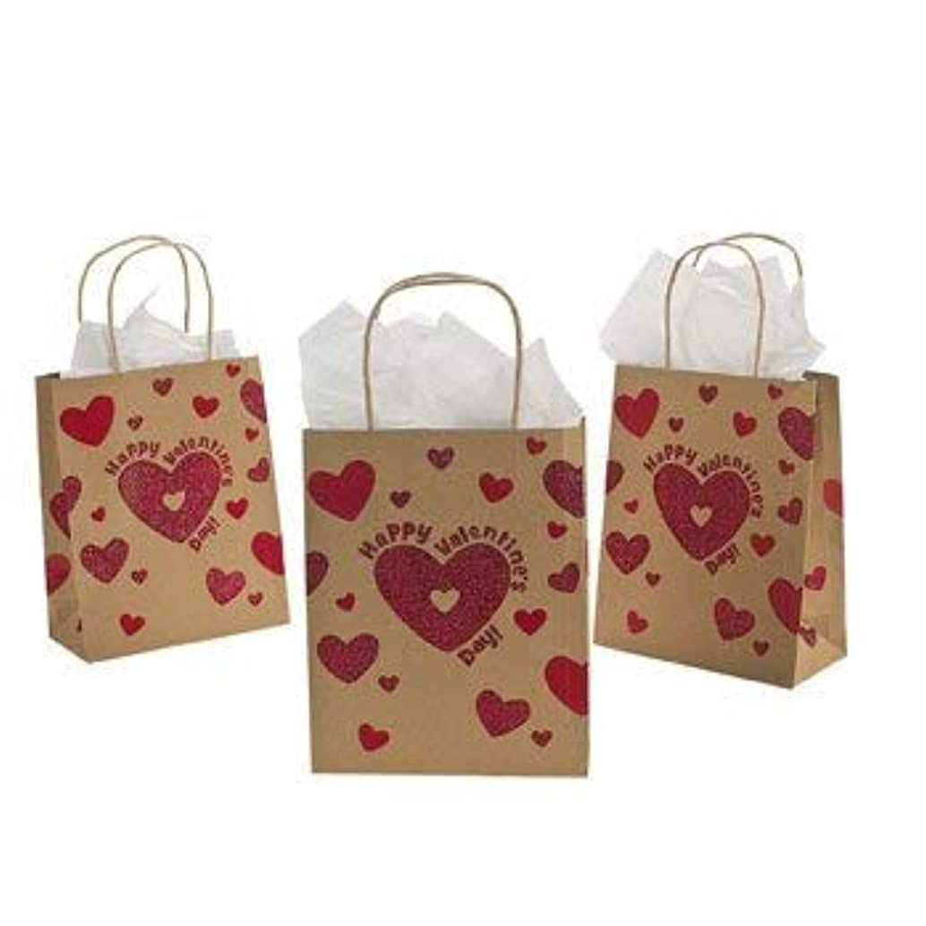 12 Valentine Glitter Craft Bags~Valentine's Day Party Supplies~Goody and Gift Bags