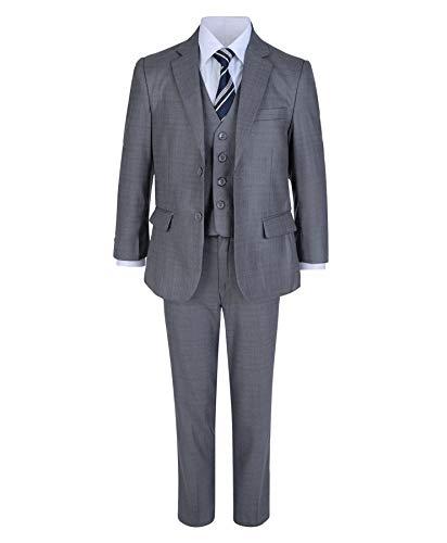 LOTMART Jungen 5 Stück Formeller Anzug Jacke Weste Krawatte Shirt Hosen Hochzeit Party und gratis Geschenk Promotion Stift mit jeder Päckchen - grau, 164