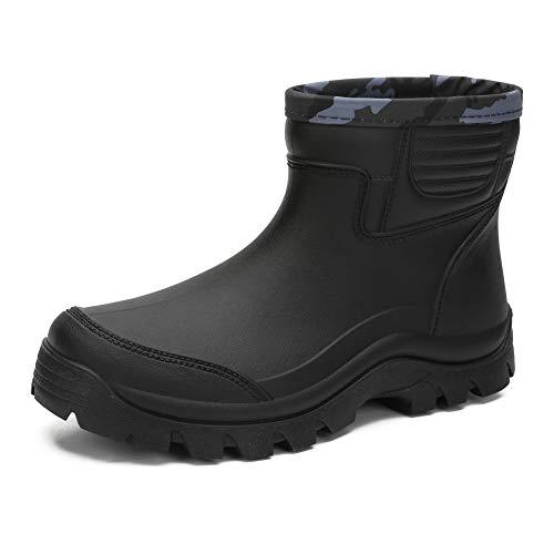 Enelauge Men's Waterproof Rain Short Boots Shoes Nonslip Rubber Rain Footwear Black 44-11.5 US