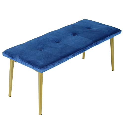 Moncot Upholstered Entryway Bench Seat, Flannelette End of Bed Bench, Ottoman Bench, Dining Bench with Padded Seat and Durable Iron Frame Legs for Bedroom, Foyer and Living Room, Navy Blue BB728-BL