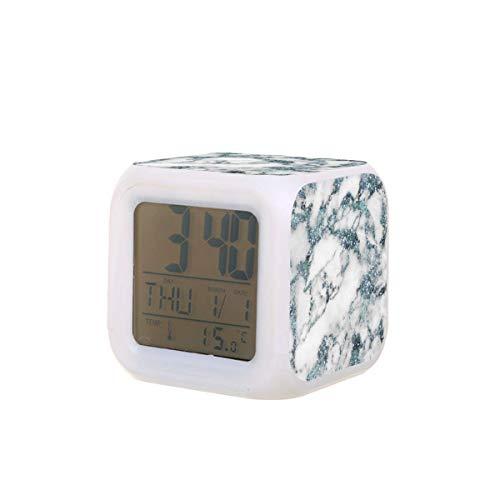 Cristales Glitter Aguamarina Blanco Azul Mármol Led Digital Despertador Calendario Temperatura Colorido Luz de la Noche Dormitorio Reloj de Escritorio Reloj con Batería