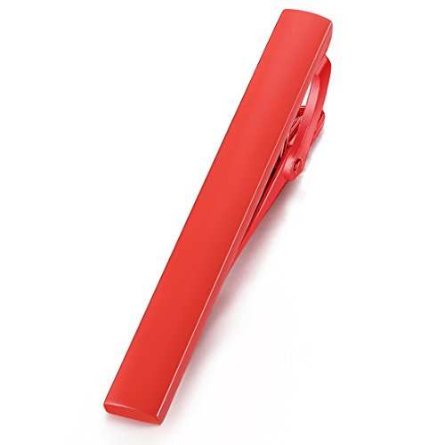 HONEY BEAR 5.4cm Herren Krawattennadel Krawattenklammer für Normale Krawatte Edelstahl Tie Clip,MEHRWEG (Rot)