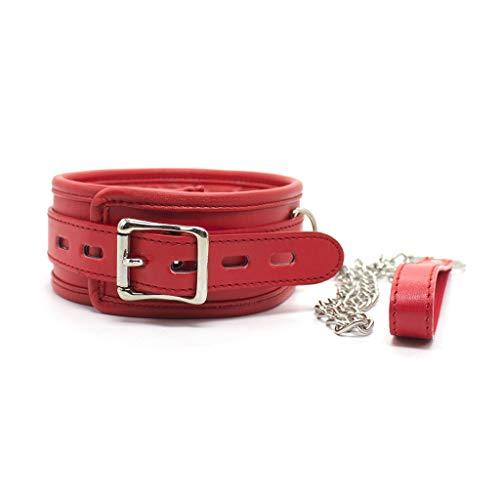 Luckly77 Cdbetter Juegos de rol for Parejas Atrezzo Gargantilla de Cuero Ajustable con Almohada de Cuerda de tracción de Cadena de Metal (Color : Red)
