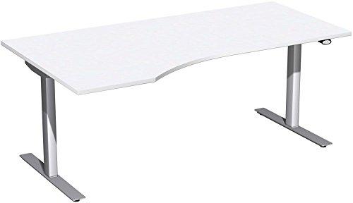 Elektrisch höhenverstellbarer Schreibtisch, links, 1800x1000x680-1160, Weiß/Silber, Geramöbel