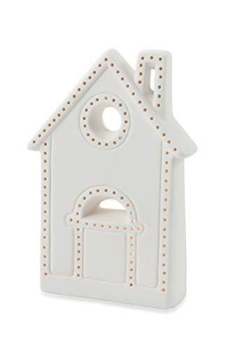 Villa d'Este Home Tivoli 2424583 Candido Natale Casetta Porcellana con LED, Bianco, Taglia Unica