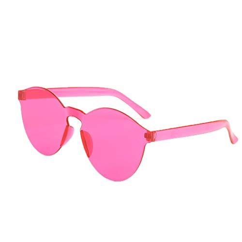 Lazzboy Randlose Transparente Brille Europa Und Amerika Candy Color Paar Sonnenbrillen Runde Hippie Sonnenbrille John 60's Stil Kreis Farbige Gläser(G)