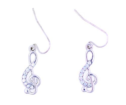 Lizzyoftheflowers - Orecchini a forma di chiave musicale, colore argento con cristalli