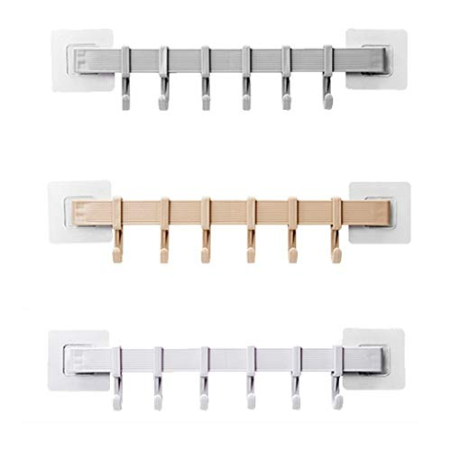 Soporte para llaves de tres colores montado en la pared (6 ganchos) -Longitud 13.5 PULGADAS (Longitud) -Colgador de llaves-cadena-cinturón-tres colores opcional ( Color : Beige(a) , Size : (abc) )