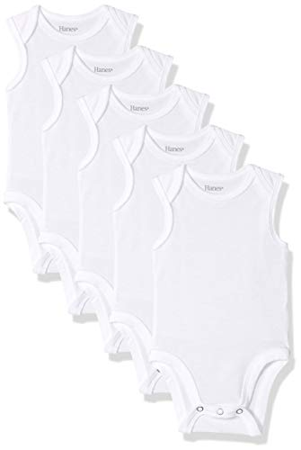 Hanes Ultimate Baby Flexy 5 Pack Sleeveless Bodysuits (Tanks), White, 12-18 Months