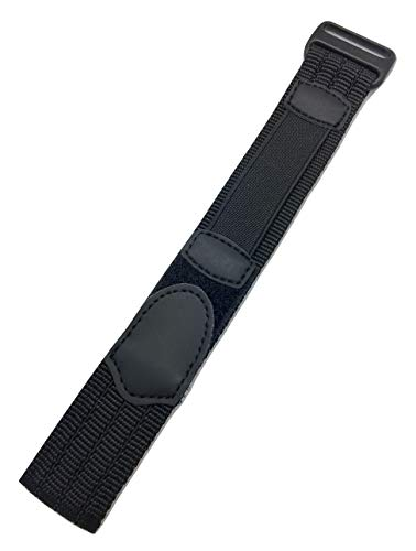 20mm Adjustable-Length, Black, Nylon Sport Watch Strap | Heavy Duty, Hook and Loop, Replacement Wrist Band for Men and Women