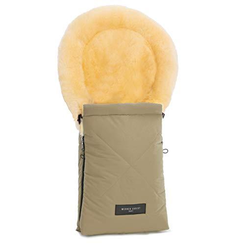 Lammfell-Fußsack OSLO für Babywanne von WERNER CHRIST BABY – universal Winterfußsack aus medizinischem Fell, für Tragetasche, Babyschale & Kinderwagen, in sahara (beige)