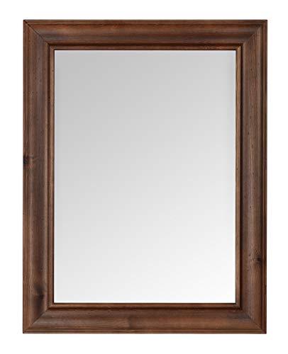 MO.WA Specchio Parete Rettangolare Classico Finitura Noce cm. 66x86 Specchiera Legno da Appendere in Verticale e Orizzontale Made in Italy.