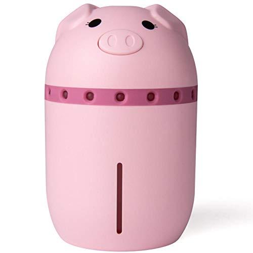 Leuke wijnluchtbevochtiger, 3-in-1 luchtbevochtiger met licht en ventilator, geschikt voor de kleine luchtbevochtiger van kinderwagen in de slaapkamer roze