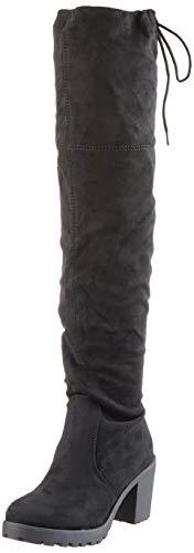 Damen Schuhe Stiefel Overknees Langschaft Boots Blockabsatz High Heels 127266 Schwarz Schwarz 39 Flandell