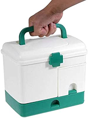 NYALKARAN NK-STORE's Empty Plastic Emergency Medicine First-Aid Box with 3 Layer Compartment and Carrying Handle