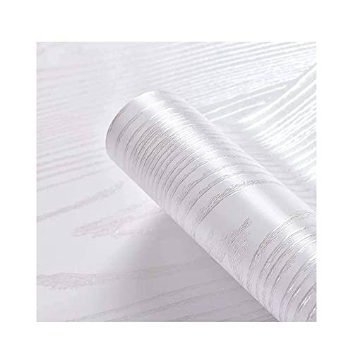 HZLGFX Papel Tapiz De Grano De Madera Blanco Plateado, Papel Tapiz De Despegar Y Pegar, Papel De Pared Autoadhesivo, Revestimiento De Paredes Decorativo Extraíble, 196.85in * 23.6in