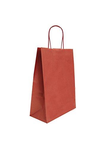 Carte Dozio - Bolsa de compras en Sealing color burdeos, asa trenzada, 18 + 8 x 24 cm, paquete de 25 unidades