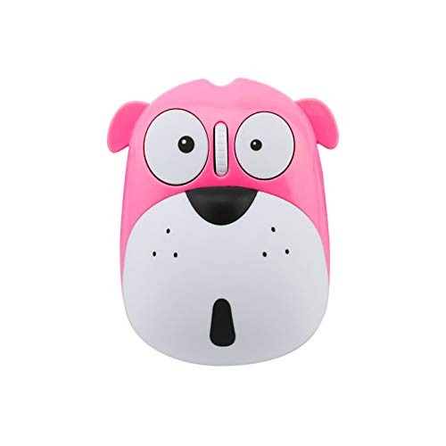 Cute Wireless Mouse, Cartoon Dog 2.4GHz Rechargeable Cordless Mouse with Nano USB Receiver Children Mice Kids Gaming Mouse for Notebook,Laptop,PC,Desktop(Pink)
