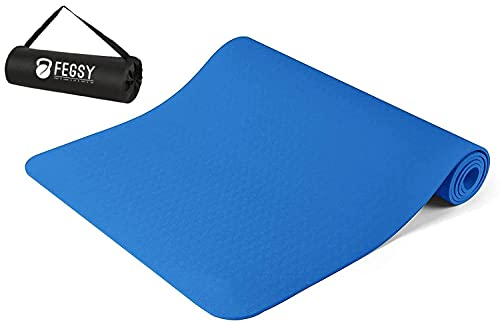 FEGSY Yoga mat for Women and Men with Cover Bag, 6mm Extra Thick Exercise mat for Workout Yoga Fitness Pilates and Meditation, Anti Slip For Home & Gym Use (Blue)
