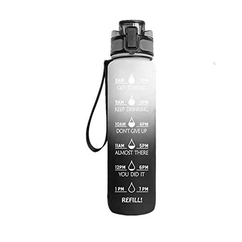 Yixin - Borraccia sportiva da 907 ml, con scala temporale, senza BPA, per adulti e bambini, ideale per escursioni all'aria aperta, colore: nero