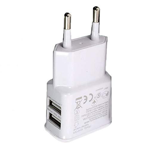 greenwoodhomer - Adaptador de corriente USB doble portátil para teléfono móvil, enchufe eléctrico de viaje, adaptador de cargador inteligente a juego para smartphone