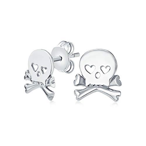 Sweet Small Heart Eyes Caribbean Pirate Skull & Crossbones Stud pendientes para hombres para mujeres adolescentes 925 plata de ley