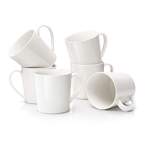 DOWAN Large Coffee Mugs Set, 18 OZ White Coffee Mug Set of 6, Ceramic Mugs with Large Handle for Coffee Tea Cocoa, Dishwasher Safe, Chip-free, DIY Paint, Ideal Gift for Morning Coffee, Birthday, Party