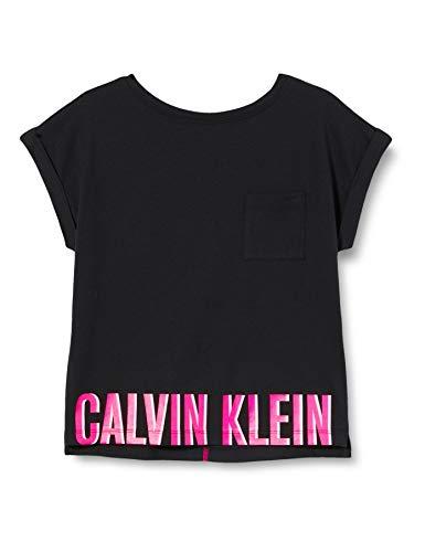 Calvin Klein Mädchen Slouchy Top Schlafanzugoberteil, Schwarz (PVH Black BEH), 14-15 Jahre (Herstellergröße: 14-16)