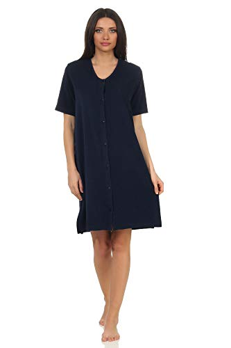 Damen Frottee Strandkleid Nachthemd Kurzarm in maritimen Farben zum durchknöpfen, Farbe:Marine, Größe2:36/38