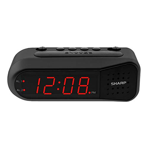 Sharp Digital Alarm Clock – Black Case with Red LEDs - Ascending Alarm Grows Increasing Louder, Gentle Wake Up Experience, Dual Alarm - Battery Back-up, Easy to Use with Simple Operation