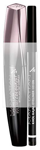 Manhattan Supreme Lash Volume Colourist Mascara + GRATIS Khol Kajal, limitiertes Set für den perfekten Augenlook, 11 ml