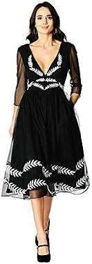 eShakti FX Plunge Wool Leaf Embellished Tulle Dress - Customizable Neckline, Sleeve