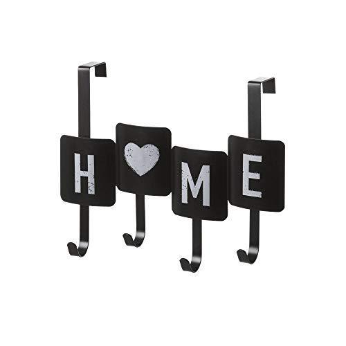 Perchero de Puerta con 4 Ganchos Industrial Negro de Metal de 35x27 cm - LOLAhome