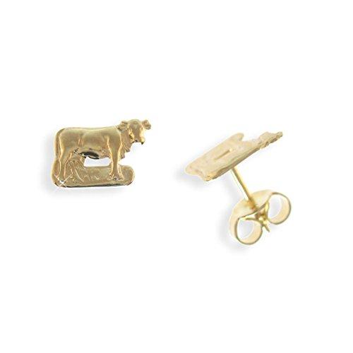 Echt 14 Karat Gold 585 Ohrstecker Kuh (Art.811077)