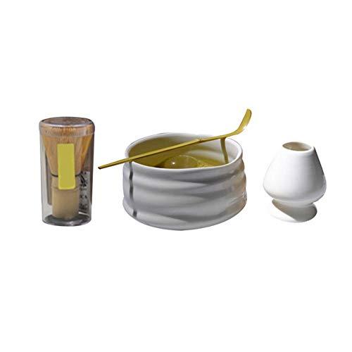RIDS Matcha Tee Set Tool Schneebesen Traditionelle Zeremonie Mischen Löffel Schüssel Zubehör Keramik Kombination, Weiß