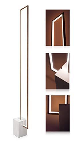 LED Universum Nunia Lampadaire LED urbain Aspect bois moderne avec pied en béton sobre et cache opale 12 W Blanc chaud 3000 K 143 x 18 x 10 cm Pour salon & chambre à coucher bureau