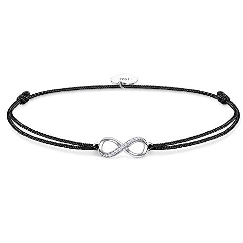 925 Sterling Silber Damen Armband Infinity beste freundin für Frauen, Unendlichkeit Zirkonia Armkette handgeflochten Armreif Geburtstagsgeschenk (schwarz)
