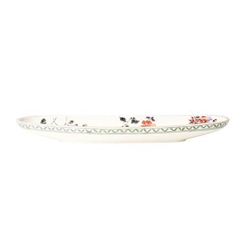 Villeroy & Boch - Artesano Provençal Verdure Baguetteschale, Schale für Anti-Pasti oder Baguette mit französischem Flair, Premium Porzellan, weiß/bunt, 44 x 14 cm