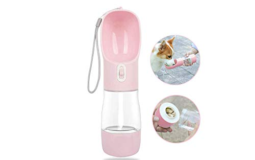 MAOCG Dog Water Bottle for Walking Multifunctional and Portable Dog Travel Water Dispenser with Food ContainerDetachable Design Combo Cup for Drinking and EatingSuitable for Cats and Puppy Pink