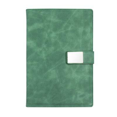 JPYH Cuaderno de Cuero A5 Libreta de Suministros de Oficina Cuaderno de Negocios con Hebilla magnética Cuaderno de Estudiante para Oficina de Negocios de Cuello Blanco (Verde)